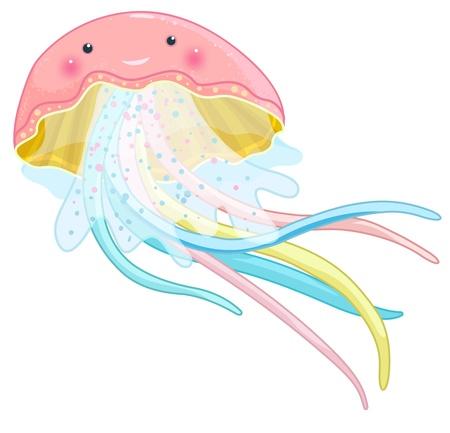 sealife: funny jellyfish cartoon character, isolated Illustration