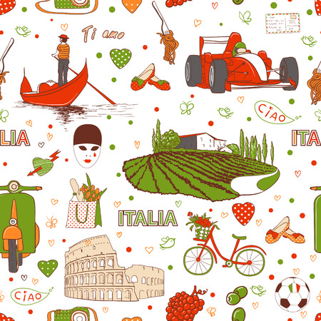 Set of the doodle sketches, Italy travel background Vector