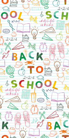Back to school background, pattern,  set of school related doodle objects