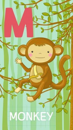 Animals ABC, letter M. Monkey sitting in the tree with banana in your hand, alphabet card.  Vector