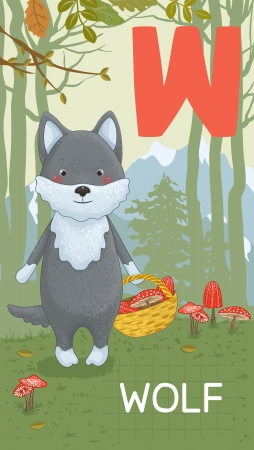 Animals ABC, letter W. Wolf in autumn forest, alphabet card.  Vector