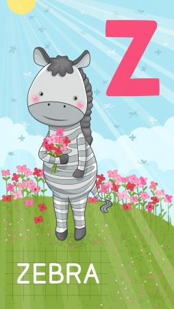 animal alphabet: Animals ABC, letter Z. Zebra with flowers in summer field, alphabet card.
