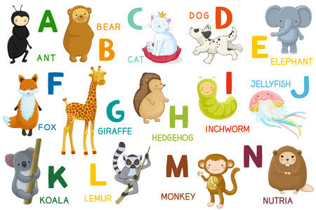 Animals ABC, letter A-N. Cartoon characters, animals and alphabet isolated.  Vector