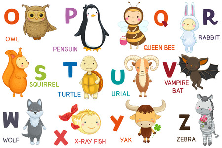 schooling: Animals ABC, letter O-Z. Cartoon characters, animals and alphabet isolated.