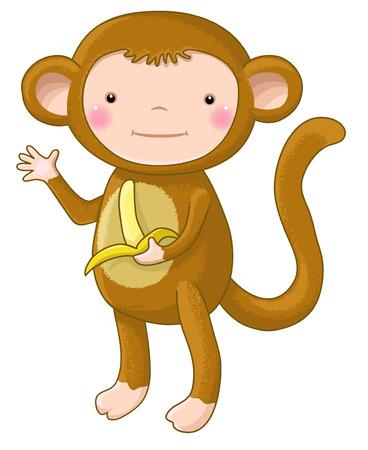 caras emociones: mono divertido personaje de dibujos animados aislado Vectores