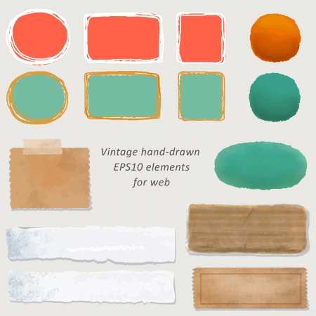digital vintage paper and hand-drawn web button kit: old paper - different aged paper objects for your layouts Vector