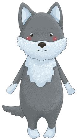familia animada: lobo divertido personaje de dibujos animados aislado