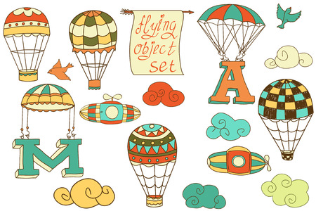 colored balloons: flying objects set with hot air balloons, parachute, airships, clouds, birds, letters A and M, colored in white or transparent background, vintage hand-drawn icons  Illustration
