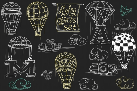flying objects set with hot air balloons, parachute, airships, clouds, birds, letters A and M, charcoal in black background  Vector