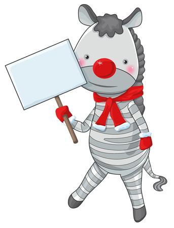 blanc: navidad cebra nariz roja personaje de dibujos animados con la etiqueta blanc de espacio de la copia
