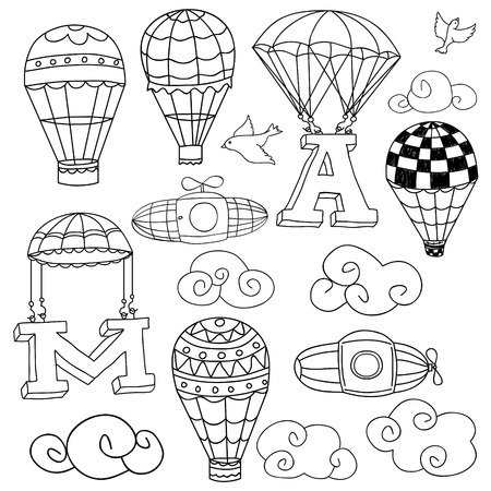 Doodle Elements: birds, clouds, parachutes lifting letters A and M, set of hot air balloons. Vector