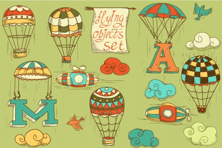 colored balloons: flying objects set with hot air balloons, parachute, airships, clouds, birds, letters A and M, colored in green background, vintage hand-drawn icons