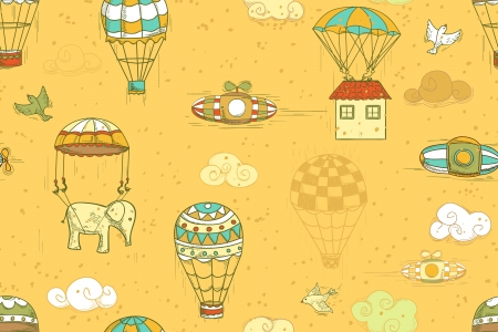 flying objects set with hot air balloons, parachute, airships, clouds, birds, house. Seamless pattern, endless background Vector