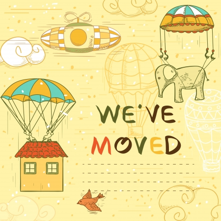 we have moved: we have moved postcard with parachute, house, flying objects, vintage style retro hand drawn illustration