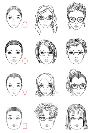 forms of womens head, types of face shape. Correct and wrong hairstyle and glasses for face type. Illustration. Illustration