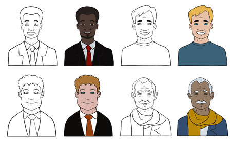 Set of various cartoon faces, illustration  Vector