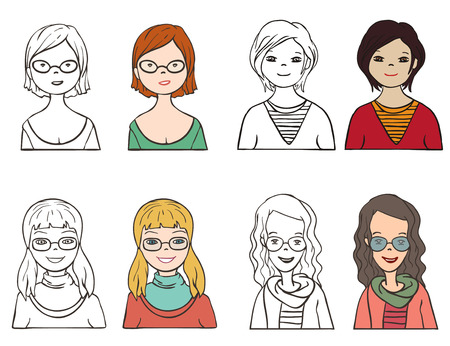 cartoon face: Set of various cartoon faces, illustration  Illustration
