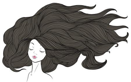 茶髪: 長い茶色の髪と美しい白人の女の子。イラスト。  イラスト・ベクター素材