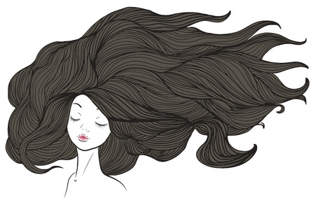 Beautiful caucasian girl with long brown hair. illustration. Vector