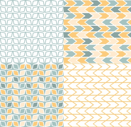 herringbone background: Set of four gray and yellow chevron patterns and backgrounds