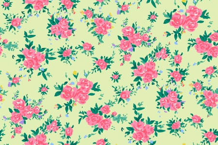 Shabby chic rose pattern background with copyspace frame template. Vector