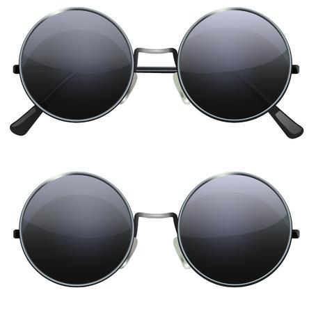 Brille mit runden Gläsern schwarz auf weißem Hintergrund, Illustration