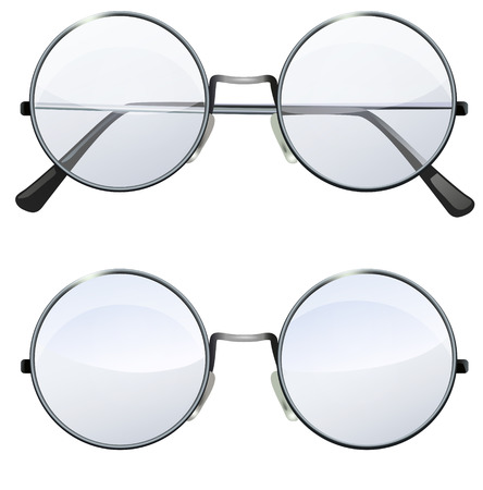 john: Glasses with transparent white round lenses isolated on white background, illustration