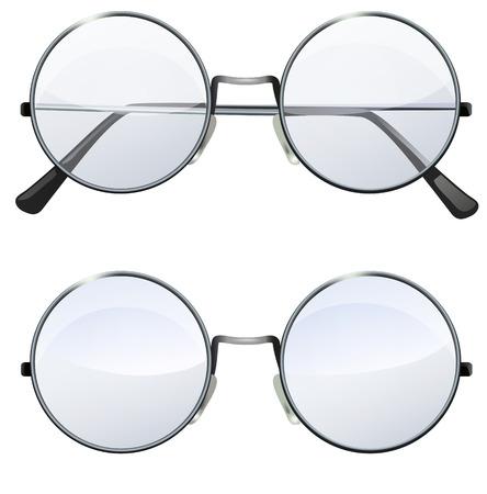 Glazen met transparante witte ronde lenzen op een witte achtergrond, illustratie