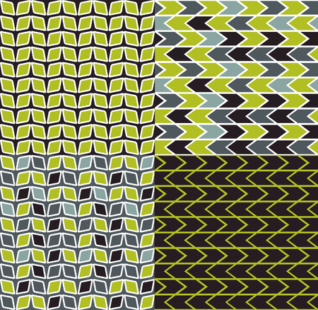 Set of four gray and yellow chevron patterns and backgrounds Vector