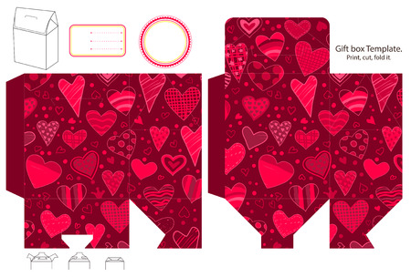 cut line: Gift box template. Abstract pattern with hearts. Empty label.  Illustration