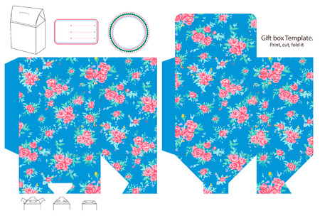 dieline: Gift box template. Abstract floral shabby chic pattern, classic country roses. Empty label.  Illustration