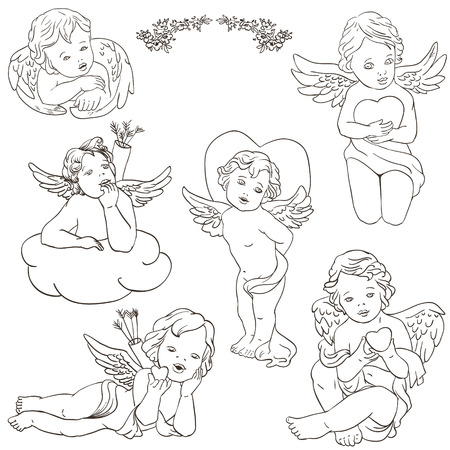 valentine cherub: angel cupid clipart for valentines day, wedding,  illustration
