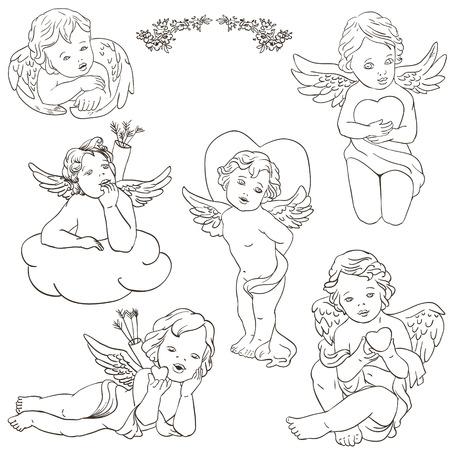 angeles bebe: ángel clipart cupido para Día de San Valentín, boda, ilustración Vectores