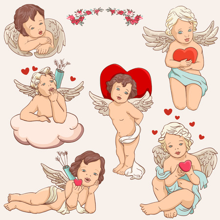 angel cupid clipart for valentines day, wedding,  illustration Vector