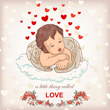 angel cupid for valentines day illustration, love concept greeting card Vector