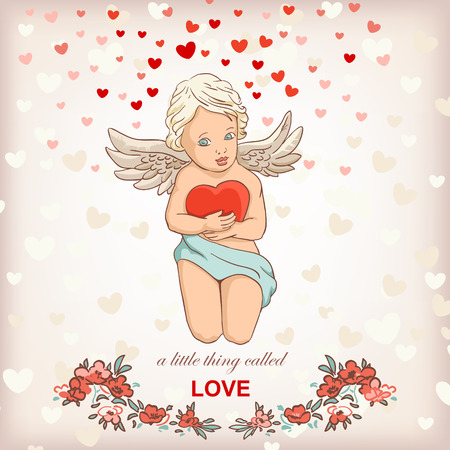 enamoured: angel cupid for valentines day illustration, love concept greeting card Illustration