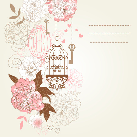 Beautiful card with birdcages, clock, keys, peonies. Illustration