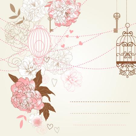 Beautiful card with birdcages, clock, keys, peonies. Vector