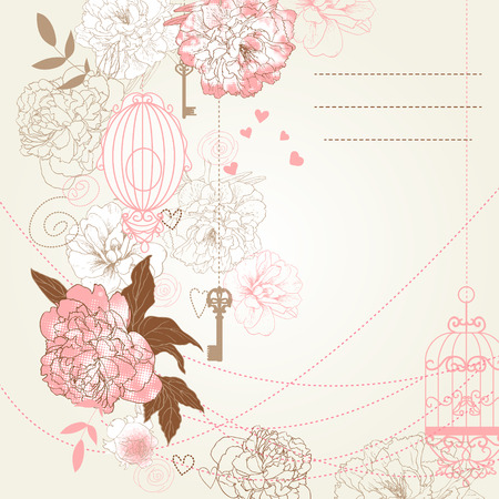 Beautiful card with birdcages, clock, keys, peonies. Vector