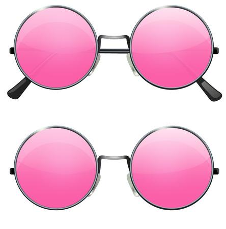 Brille mit runden Gläsern transparent pink auf weißem Hintergrund, Illustration