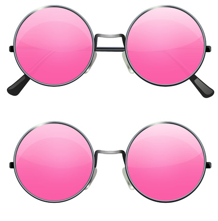 Glasses with transparent pink round lenses isolated on white background, illustration Çizim