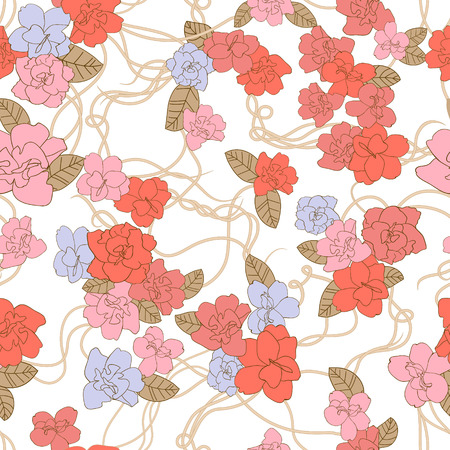 romanticist: Abstract Nature Pattern with flowers. Endless pattern can be used for wallpaper, pattern fills, web page background, surface textures.  Illustration