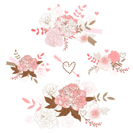Set of cute floral bouquets, retro peonies Vector