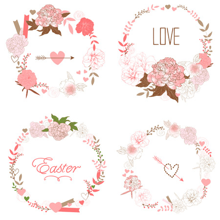 Floral Frame Collection. Set of retro styled peonies arranged at the shape of the wreath perfect for wedding invitations and birthday cards