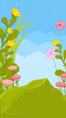 summer nature: Spring or summer nature background. Grass, flowers, sky.