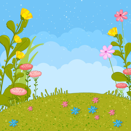 Spring or summer nature background. Grass, flowers, sky.
