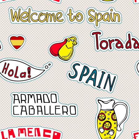 Viajes España, Diseño con garabatos símbolos de España.