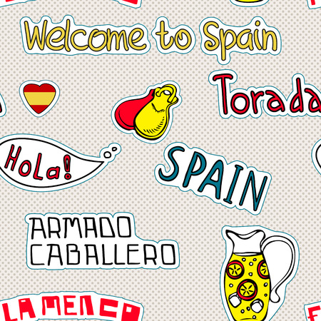 Travel Spain, Pattern with doodles symbols of Spain. Vector