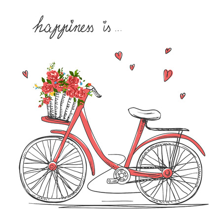 Bicycle with a basket full of flowers 일러스트