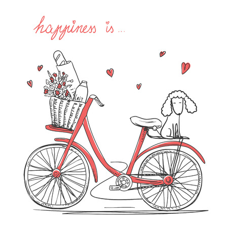Bicycle with a basket full of flowers, milk and bread. dog sitting at the rear of the bike Vector